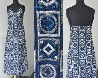Blue/Silver 60s Vintage Brocade Maxi Strap Dress // Hand Made // Size XS