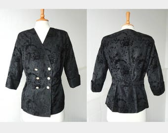 Black 40s Vintage Jacket With Lovely Ivory Flower Buttons // Taffeta And Velvet