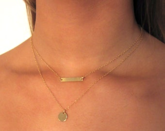 Gold Bar Necklace , Gold Disk Necklace , Gold Filled Necklace ,  Delicate Layering Necklaces  , dainty necklace , necklace set , minimalist