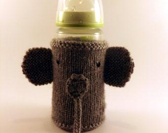 Knit Elephant Baby Bottle Cozy - Baby Bottle Cozy - Knitted Bottle Cover - Knit Elephant Bottle Cover
