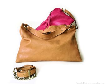 Soft leather Hobo Bag in brown and bright pink. 20% off sale Brown Hobo Bag. Spring bags. Large Shoulder Bag. Brown Cross body hobo.