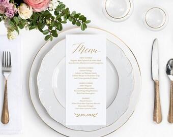 Gold Wedding Menu Template, Printable Wedding Menu Cards, Gold Wedding Decor, 4x9 Editable Template, Rustic DIY Menu Cards, Simple Wreath