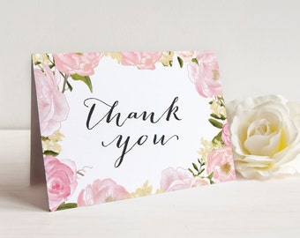 Printable Bridal Shower Thank You Cards, Wedding Thank You Cards, Floral Thank You Cards, Instant Download, A2 Folded Thank You