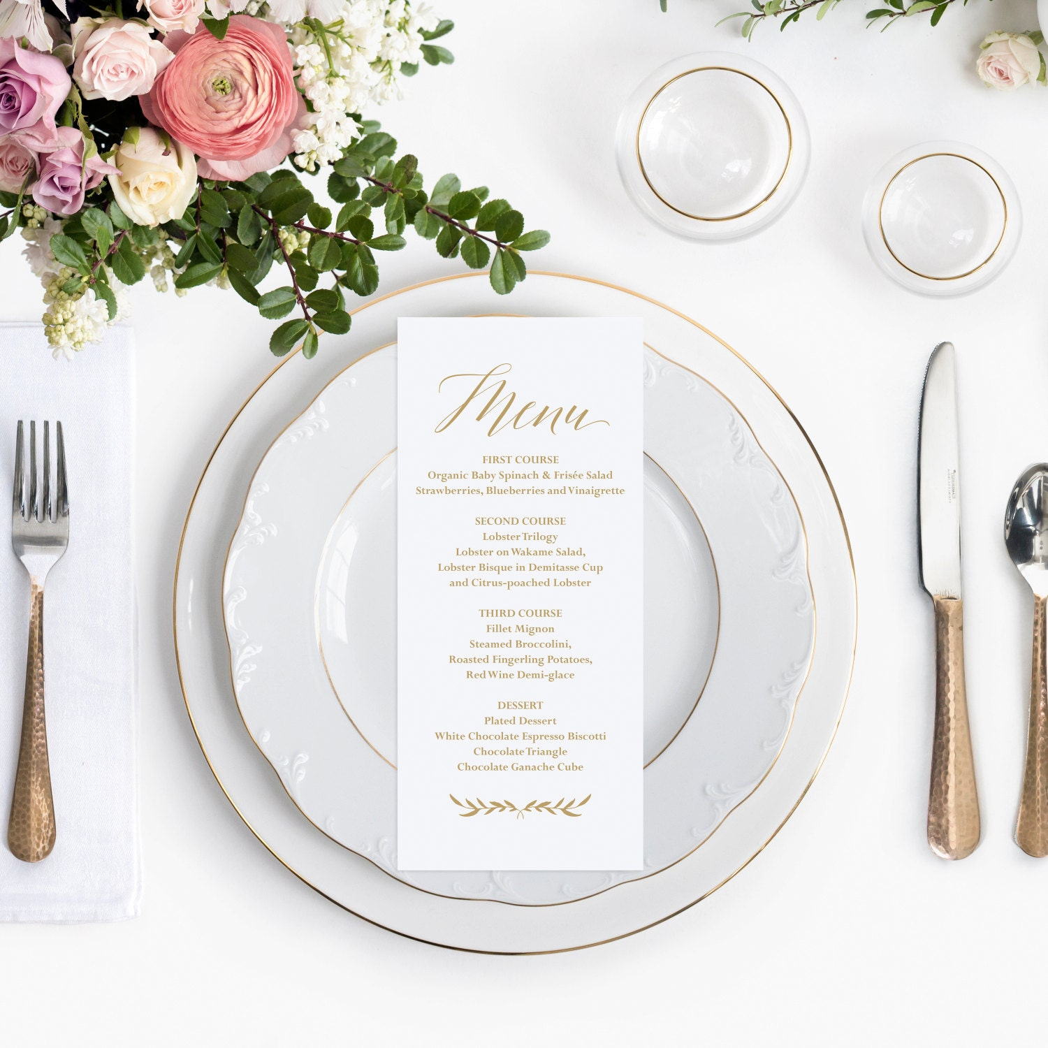 Gold Wedding Menu Template, Printable Wedding Menu Cards, Gold ...