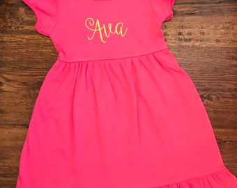 Personalized Short Sleeve Ruffle Dress