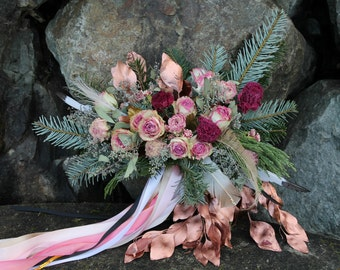dried flower bouquet, rosegold bouquet, dried pink flower bouquet, pink bridal bouquet, rosegold bouquet, pink rose bouquet, pink and gold