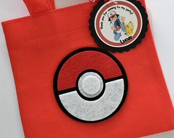 Set of 12 Pokemon Favor Bags with Personalized Thank You Tags, Pokemon, Pokemon Party Bags, Pokemon Birthday, Pokemon Party, Pokemon Ball