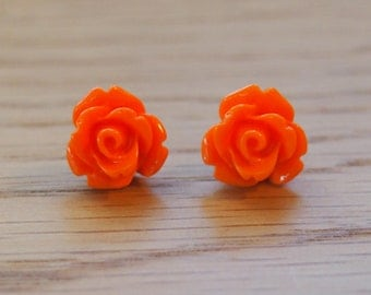 Little orange rose earrings, stud earrings, resin rose earrings, surgical stainless steel posts
