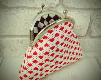 Hearts and spots, red and white coin purse, kiss lock, silver snap frame, black and white checks, girlfriend gift, teenager, gift for her