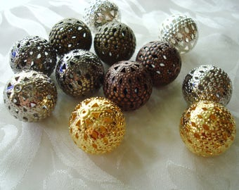 Sale! 12 Giant, Gorgeous, Filigree Ball Beads 20mm. 6 Color/6Pair MIX Big, Lovely, Lightweight, Lacy Round Iron Beads. ~USPS Ship Rates/OR