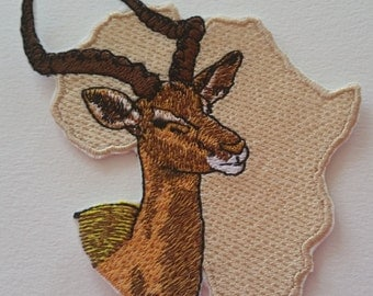 Africa map iron on or sew on patch Antelope patch 10 cm x 9 cm ( 3.94'' x 3.54'') antelope patch Wild animal patch Africa patch Africa map