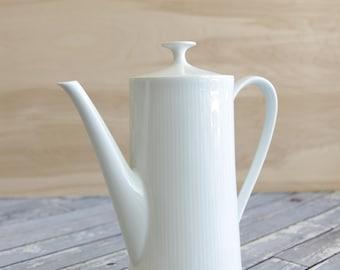 White Ceramic Coffee Pot Mid Century Modern