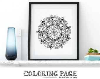 Coloring Page Mandala Printable Doodle Zentangle Adult Coloring Page Anti Stress Art Therapy Art Instant Download Zen Digital Printable Art