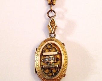 Antique Victorian Gold Filled Photo Locket Necklace with Seed Pearls