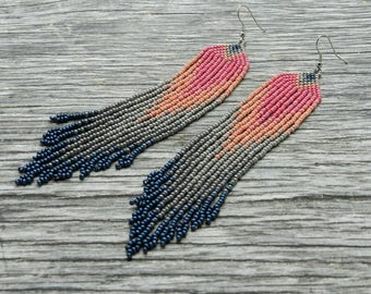Beaded earrings, Pink grey seed bead fringe earrings, extra long tassel earrings, boho style, Native American jewelry