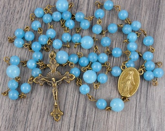 Sky Blue Gemstone Rosary with Miraculous Medal centrepiece