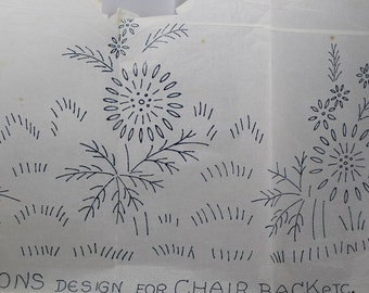 Daisies Iron-on Embroidery Transfer for Chair Back - Deightons S24725
