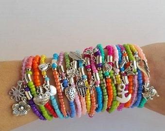 20 stretchy bracelet - bracelet bracelets - lucky bracelet - stretch bracelets - colorful bracelet - bohemian bracelet - color block jewelry