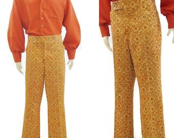 Vintage 70s Pants Mens Orange Yellow Floral Print Polyester Golf Nerd Flared 37