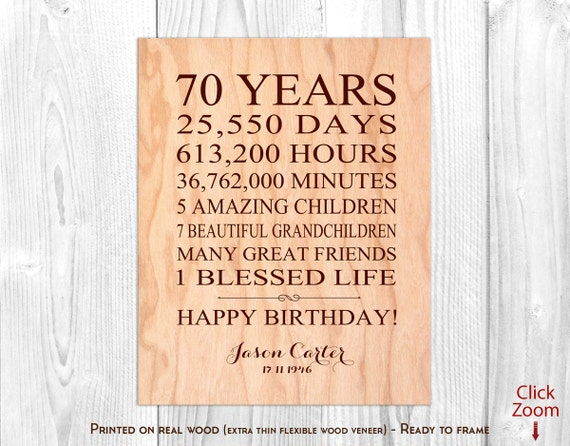 70th Birthday Gifts For Men 70 Year Birthday Gift For