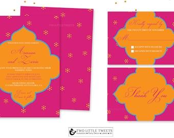 Modern Indian Bollywood Wedding Invite- Hindu Sikh WeddingIndian Boho-Hot pInk wedding invite- Moroccan Wedding- orange pink wedding- 039