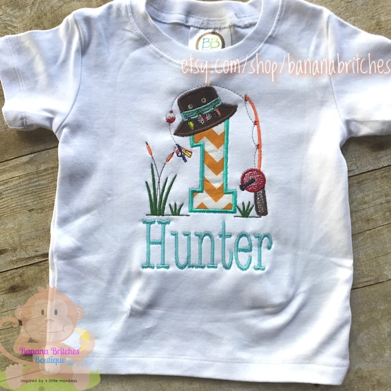 Fishing applique number shirt onesie for birthday outfit first for Fishing shirt onesie