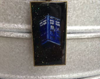 Police Box - Hand Painted Pendant