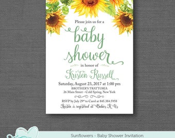 Sunflowers Baby Shower Invitation Printable, Baby Shower Invite, Yellow, Boy, Girl, Gender Neutral, Sunflower Invitation, 1A
