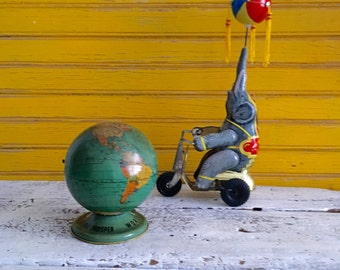 Antique Ohio Art World Bank, Tin Lithograph Change Bank, Circa 1920's, Vintage Toy World Globe Bank