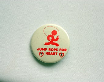 Jump Rope for Heart Pin Back, Heart and Stroke Association