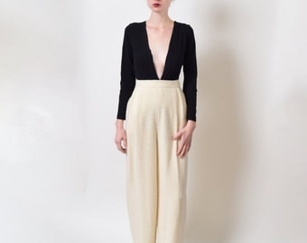 1980s Valentino Cream Boucle Trousers 80s Vintage High Waist Wide Leg Designer 28 M