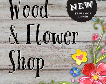 Premade etsy branding kit, Wood etsy shop cover, Cute yellow floral etsy avatar, Shop graphic images, Rustic chic banner, Business branding