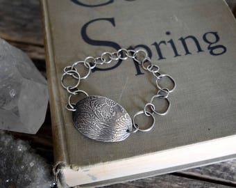Silver Metalwork Chain Bracelet Silver Floral Bracelet Rustic Chain Bracelet Silversmith Jewelry Silver Chain Bracelet