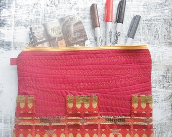 Textured Zipper Pouch, Olive Tan Red Orange, Quilted Clutch, Device Case, Eccentic Accessory Pouch, Cosmetic Bag, Artist Pouch Art To Go
