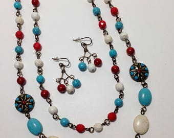 Southwest, Extra Long Necklace, Turquoise Blue Green, Red, White, Magnesite, Sponge Coral, Enamel, Necklace, Earrings
