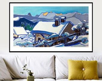 Arte de la pared de la montaña azul, arte acuarela Original, naturaleza, arte azul moderno, decoración de la casa de la pared, arte de la pared, apartamento Interior de arte