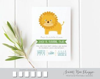 Lion Birthday Invitation, Kids Birthday Party Invite, 2nd Birthday, Lion Theme, Children's Birthday Invitation, 1st, 2nd, 3rd Birthday, Zoo