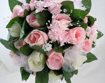 Bridal Bouquet, Large Bouquet, Wedding Flowers, Silk Roses, Pink, Creamy White, Pearls, Rhinestone, White Satin, Tulle, Organza Ribbon
