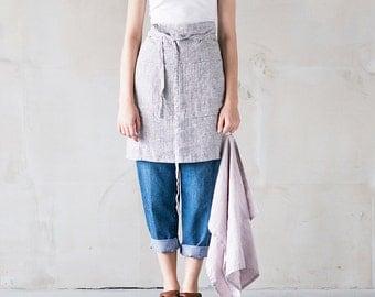 Linen half apron / Washed handmade midi linen apron in small checks