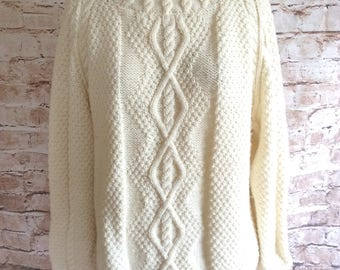 Vintage Sweater Jumper Pullover Hand Knitted Long Arran Style Cream Wool Cabled Classic  c1970s Large