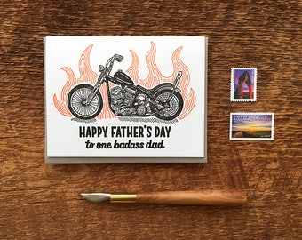 Happy Father's Day, Badass Dad, Motorcycle Dad, Motorcycle and Flames Card, Folded Letterpress Card, Blank Inside