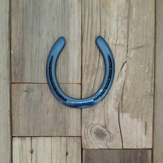 Western Decor Paint: Navy Blue Horseshoe Western Decor Horse By EECustomHorseShoes