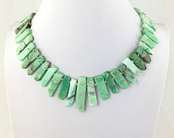 Chrysoprase AAA Natural Genuine Organic Slab / Stick Beads with Hill Tribe Silver Statement Necklace with a Hook and Eye Clasp