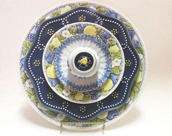 Green Yellow Blue Glass Garden Flower - Garden Art - Plate Flowers - Art Flowers - Glass Flowers - Dish Flowers - Outdoor Decor - Home Decor