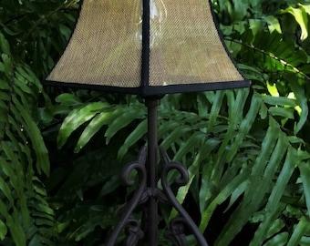 Screen Lamp Shade, Black Gold Industrial, Chandelier, Contemporary Modern, Minimalist Bronze Screen, Bell Frame, Black Grosgrain Ribbon Trim
