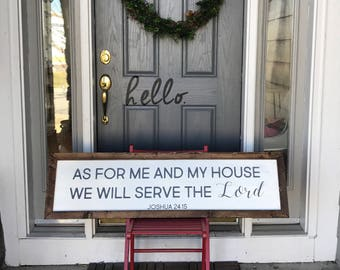 As For Me And My House We Will Serve The Lord - Farmhouse Style - Framed Sign - Rustic Sign - Wall Decor - Dining Room Wall Art