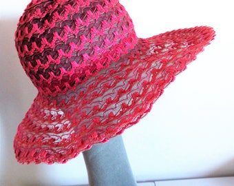 VINTAGE 1960's Ladies Straw Hat Floppy Hippy Striped Pink  Wide Brimmed Hat