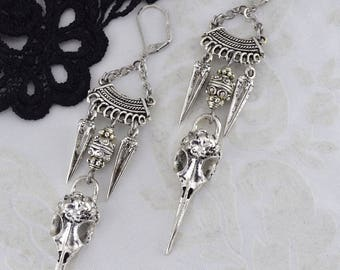 Gothic Raven Skull Earrings - Silver metal bird skull Earrings - Steampunk Raven Earrings