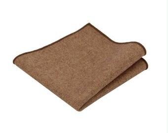 Brown  Wool Pocket Square.Brown Wool Handkerchief.Brown Hankies.Wedding.Gifts