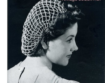 Crochet Snood Pattern Vintage 40s Crochet Hat Pattern Crochet Perky Snood Pattern Crochet Hair Net Pattern